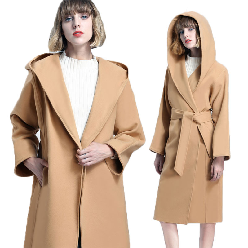 Double-sided Hooded Autumn Winter Wool Coat Women Plus size Long Female Woolen Jacket 2018 New Woman Coats Jackets casaco Z375