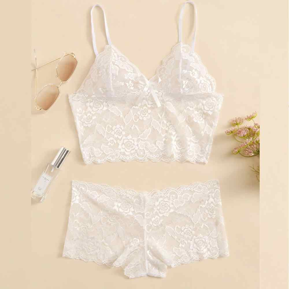 Sous Vetement Femme 2019 Sexy Lingerie Lace Bra Sets Summer Thin Women's Underwear Solid Wireless Bra and Panty Dropshipping c