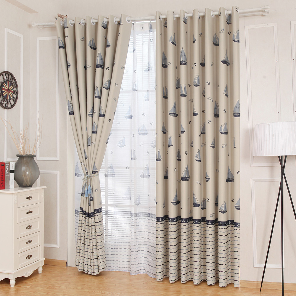 Eco Friendly Bedroom 2017 Mediterranean Curtain Bedroom Boat And Anchor  Product Printing Window Kids Sheer