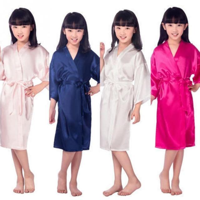 Baby Girls Kid Silk Satin Kimono Robes Bathrobe Sleepwear Wedding Flower Girl Night Dress