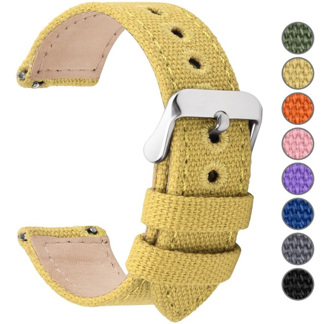 8 Colors for Quick Release Canvas Watch Band, Fullmosa NATO style Watch Strap 18