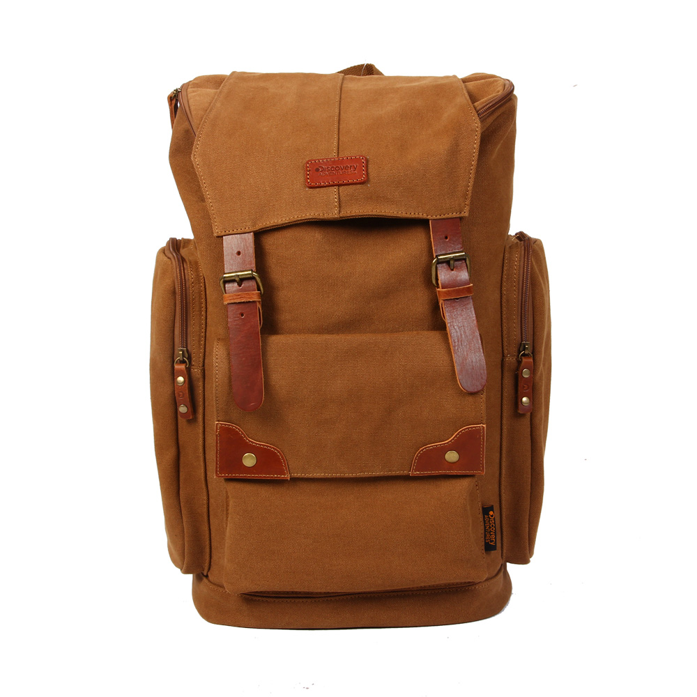 цена на Discovery ADVENTURES Canvas Backpack Rucksack Travel Bag Vintage Camping School Laptop Book Satchel Free Shipping