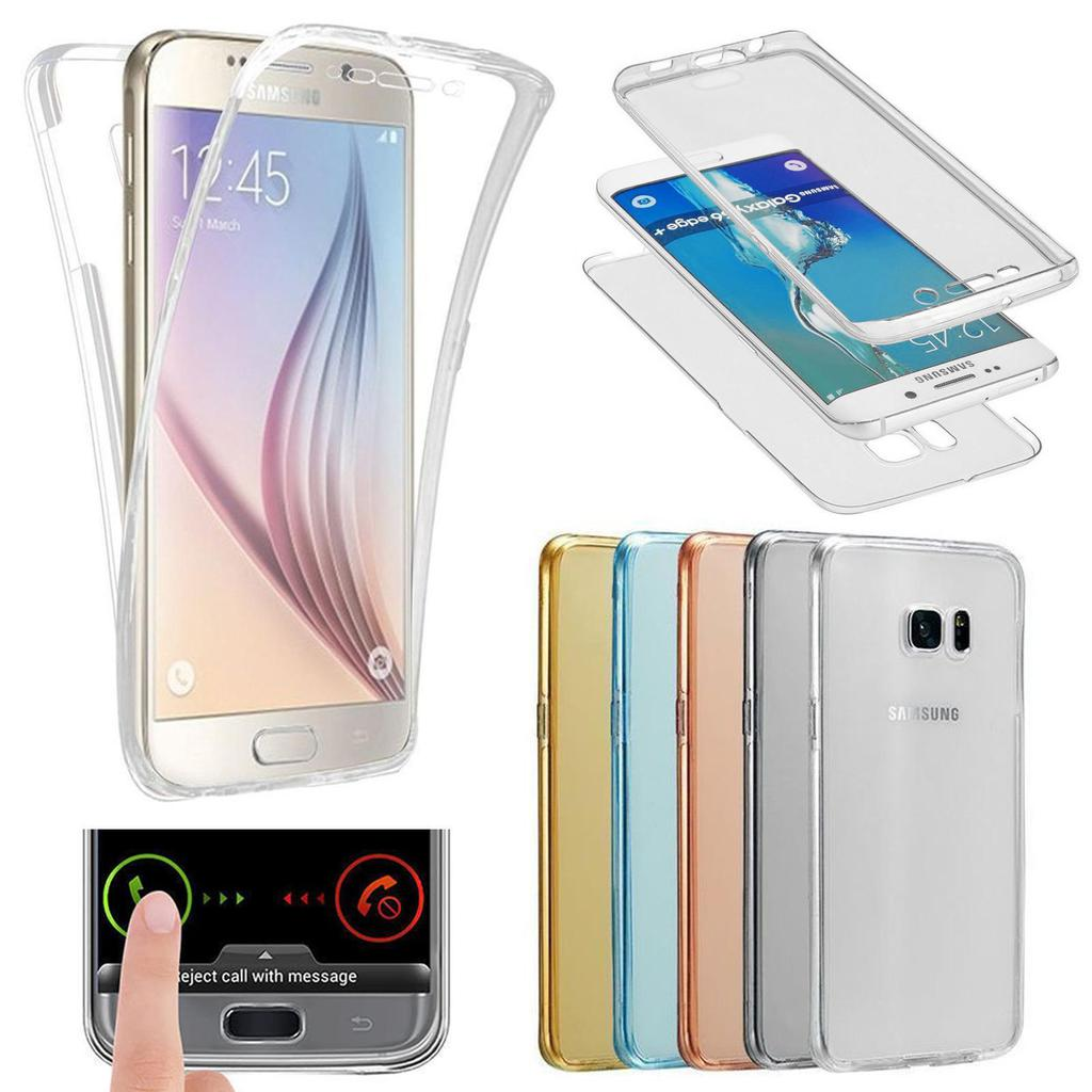 360 Full Hybrid TPU Cover For Samsung S4 5 6 7 8 9 Edge Plus Note 8 9 Soft Protective Clear Coque Case Transparent Silicone