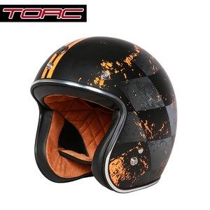 Image 3 - בציר moto rcycle קסדת TORC T50 פתוח פנים DOT אישר חצי קסדת רטרו moto casco capacete moto ciclistas capacete