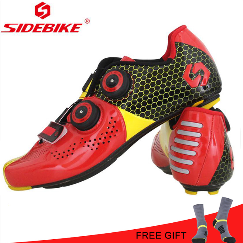 Sidebike Cycling Road Shoes Ultralight Carbon Fiber Men Riding bike Shoes self-locking atop bicycle speakers Athletic red ShoesSidebike Cycling Road Shoes Ultralight Carbon Fiber Men Riding bike Shoes self-locking atop bicycle speakers Athletic red Shoes