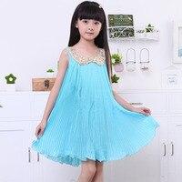 European Style Summer Candy Girl Dress Sequined Collar Sleeveless Chiffon Dresses For Girls Children Girl Party Beach Sundress