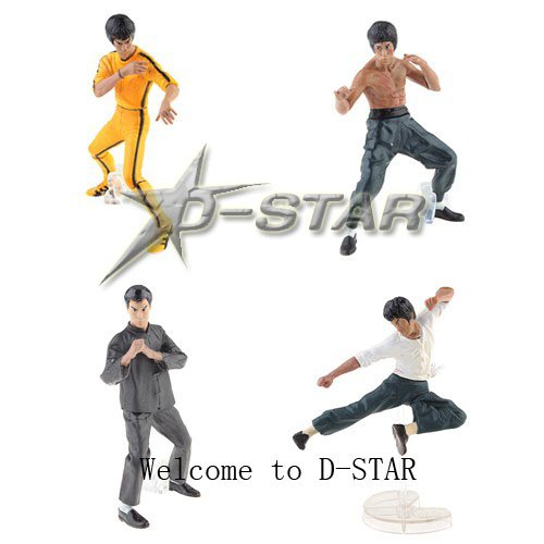 DHL Shipping 12 sets Cool 4 Bruce Lee Kung Fu 4pcs Set PVC Action Figure Figures Collection Model Toy Gift (4pcs per set)