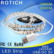 LED strip 1 m 2 usb ha condotto la luce di striscia 5 v 3528 smd rgb caldo/bianco freddo flessibile tv sfondo illuminazione