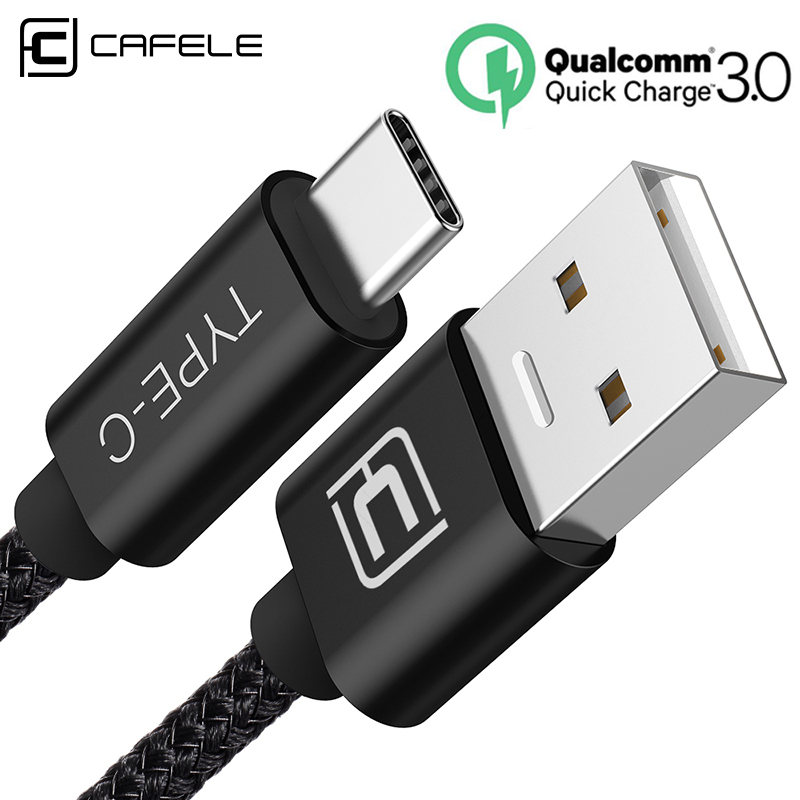 Cafele USB Type C Cable 2m Support QC 3.0 Quick Charge 200cm for Samsung Galaxy S9 Type-c Black