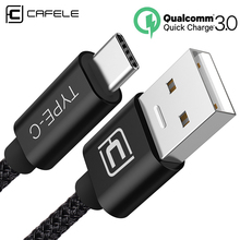 Cafele USB Type C Cable 2m Support QC 3.0 Quick Charge 3.0 200cm USB C Cable for Samsung Galaxy S9 USB Type-c Cable Black гарнитура qcyber roof black red звук 7 1 2 2m usb