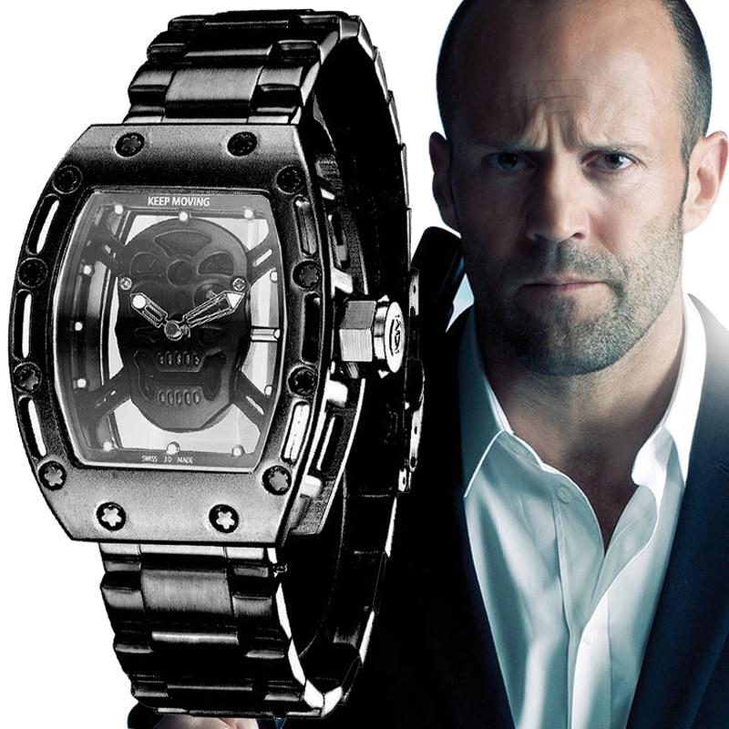 Fotina 2017 New Pirate Skull Watches Men Richard Style Quartz Military Steel Wrist Watch Men Sports