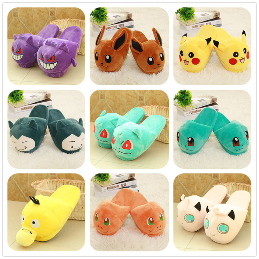 Anime Cartoon Pokemon Cosplay Shoes For Women Pikachu Go Charmander Squirtle Cute Home Wear Winter Plush Warm Slippers