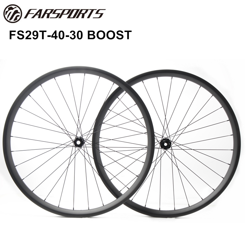 Durable All mountain wheelsets 40mm wide 30mm deep, 35mm internal wide, 29er full carbon MTB wheelsets with boost hub, 28H spoke