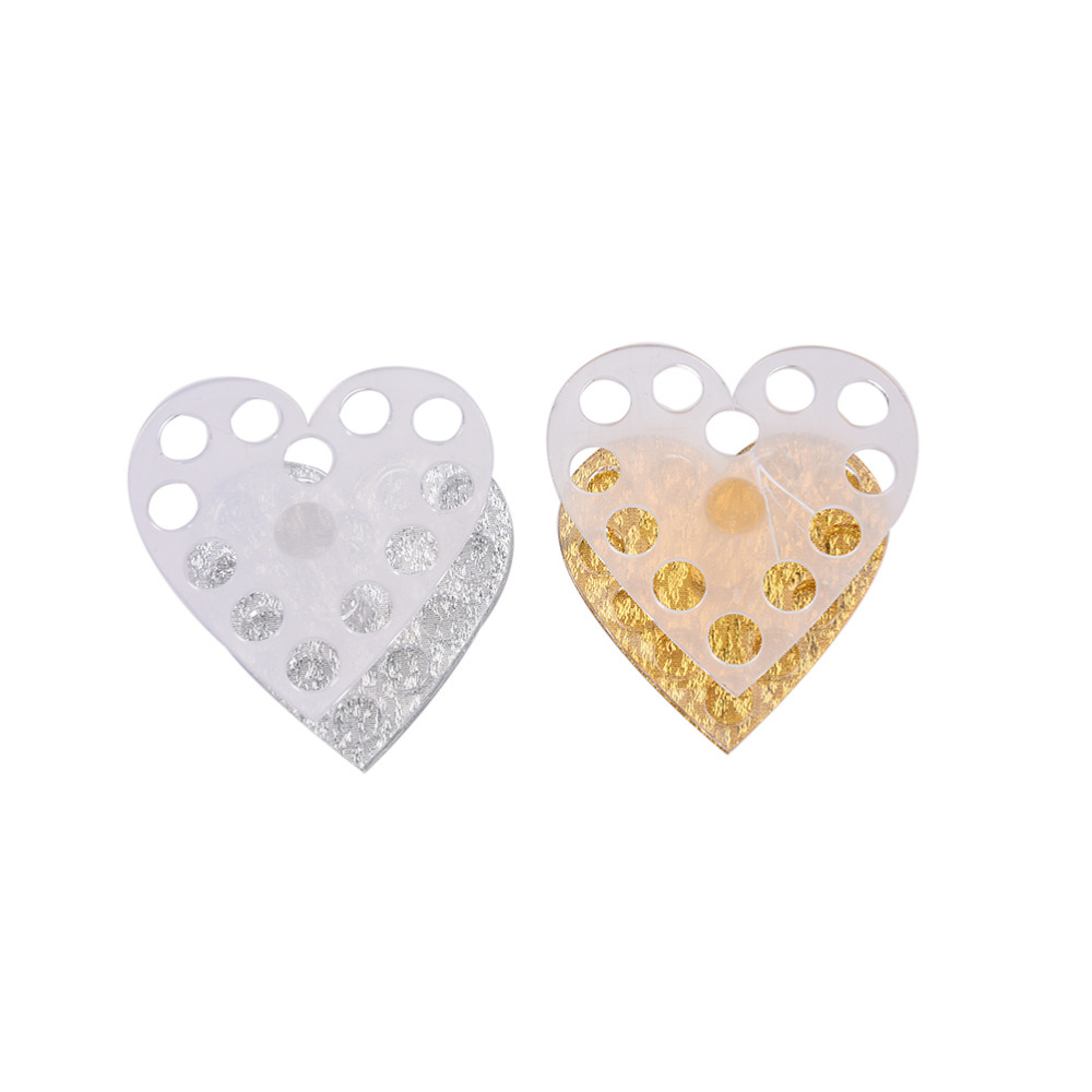 Gold Silver Heart Shape Clear Acrylic Nail Eyeliner Pen Nail Art Cosmetic Pen Brush Display Holder Makeup Brushes Organizer Rack