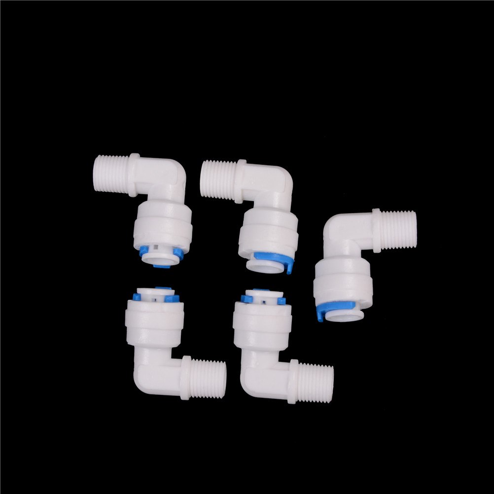 """5PCS 1//4/"""" Male Thread 1//4/"""" OD Tube RO Water Elbow Quick Connector SZ"""