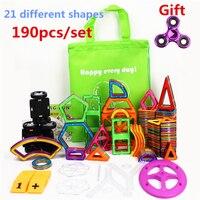 190 шт./компл. стандартный размер магнитные Строительные блоки Кирпич конструктор Развивающие игрушки для детей с брошюрами сумки и подарок