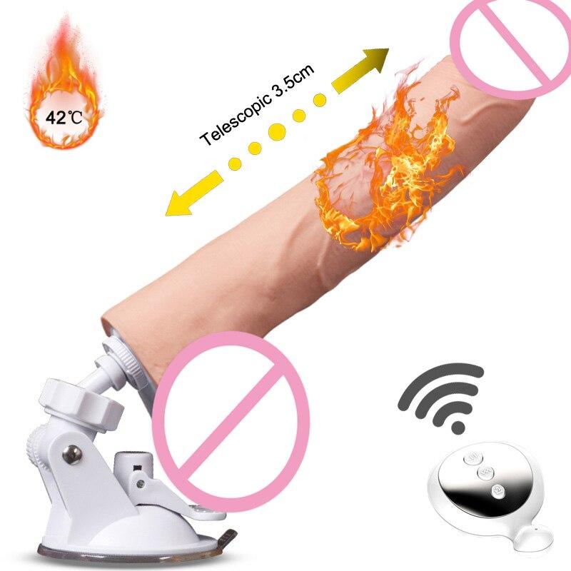 Sans fil télécommande automatique télescopique chauffage gode 10 vibrant vrais godes de pénis pour les femmes sexe Machine jouets adultes Masturbation