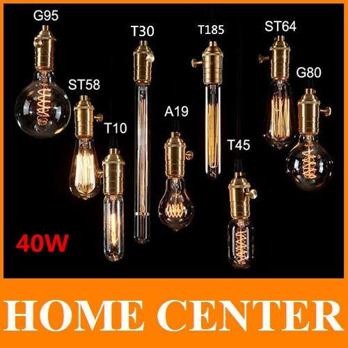 Buy G80 Led Filament E27 40w Bulb Online: Edison Bulb Light 40W 220V E27 Incandescent Bulbs Antique