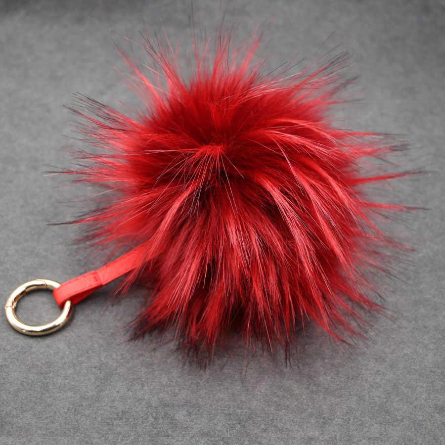 Moda 12 Cores 15 cm fluffy Pele De Pele De Raposa Bola Chaveiro Pom Pom Pompons Pompom Keychain Chaveiro Chaveiro para o Saco de Charme pingente