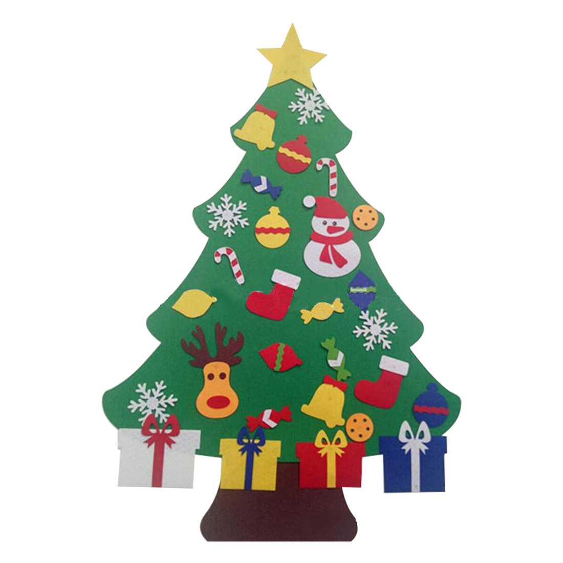 useful kids diy felt christmas tree with ornaments children christmas gifts for 2018 new year door wall hanging xmas decoration - Wall Hanging Christmas Tree