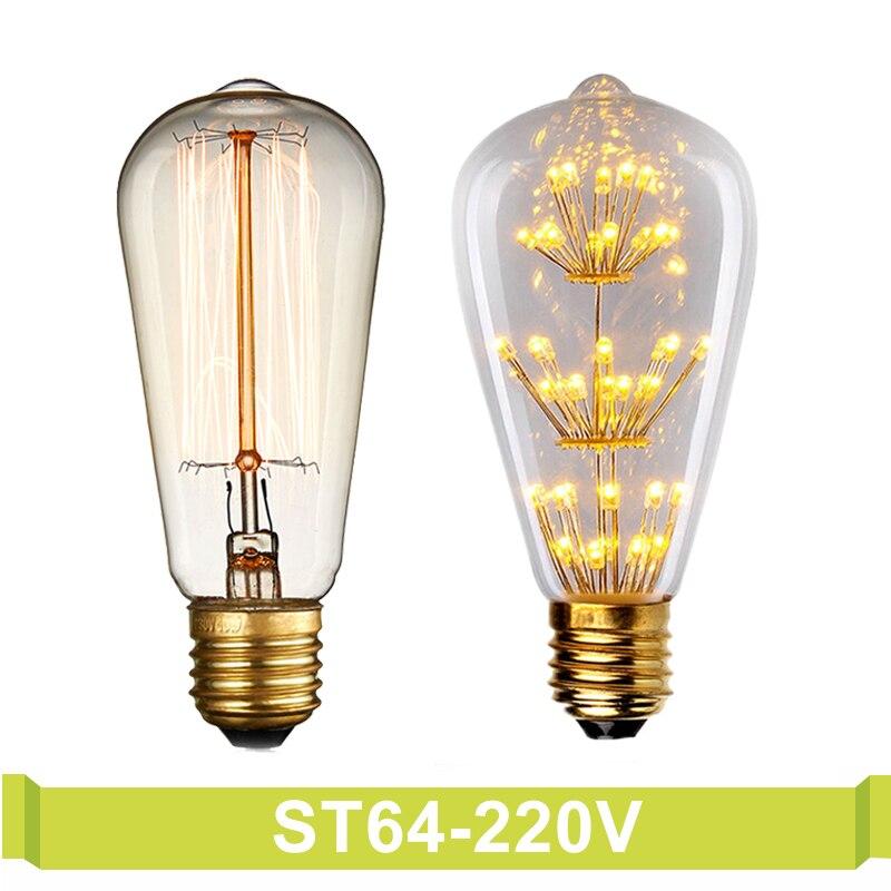 st64 220v decorative filament bulb lighting bombilla Incandescent light bulb led 40w bulbs e27 pendant lamp vintage edison bulb