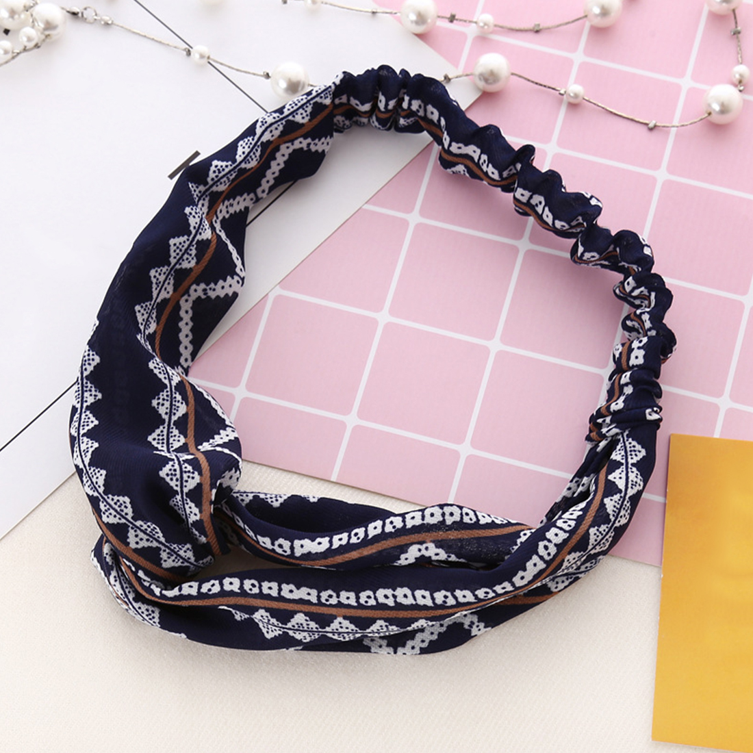 Bohemian Style Elastic Headbands Boho Cross Floral Turban Girls Flower Hairbands Striped Headwrap Hair Accessory in Women 39 s Hair Accessories from Apparel Accessories