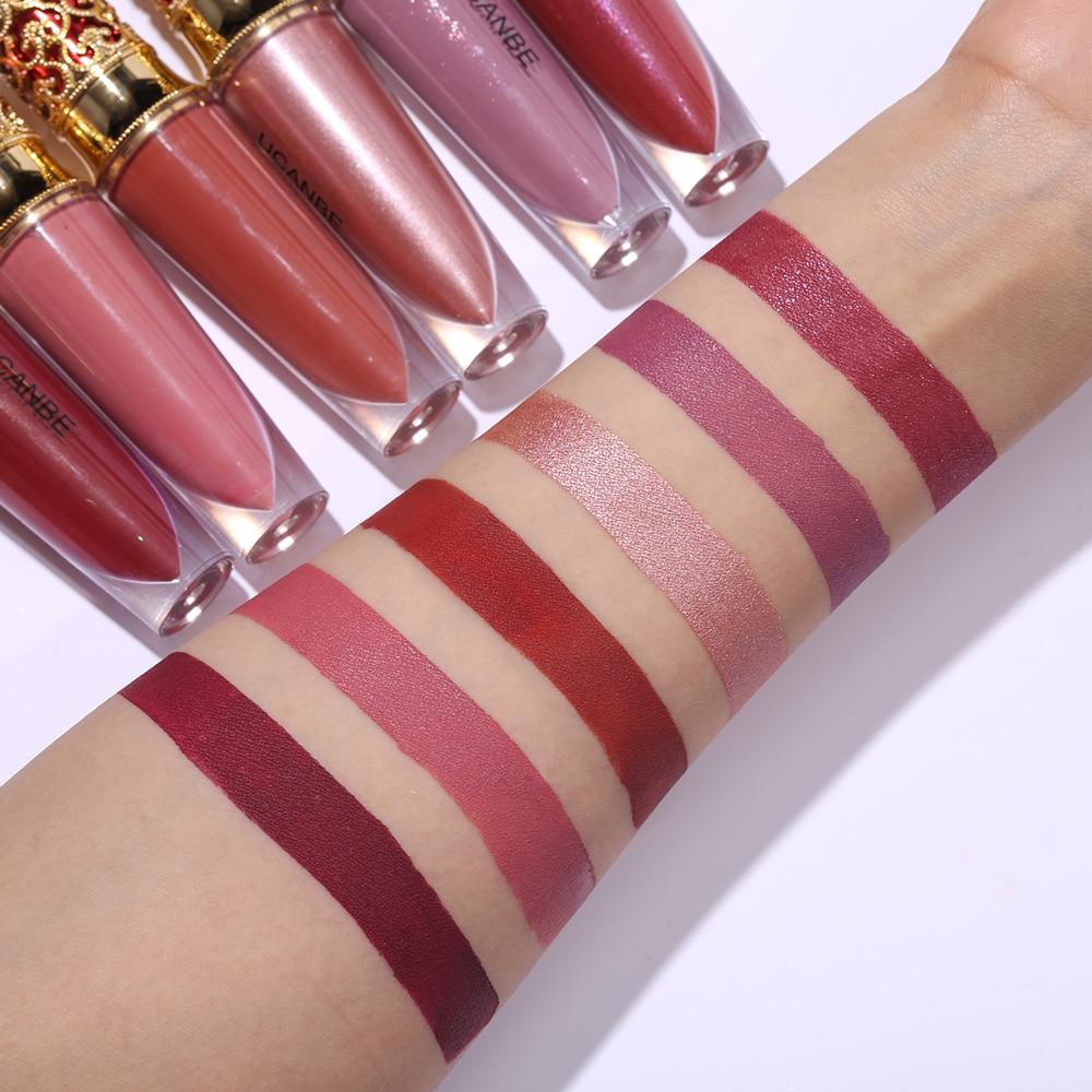 UCANBE Brand Crown Lipgloss Shimmer Matte Liquid Lipstick Waterproof Long Lasting Lip Gloss Makeup Tender Pink Nude Cosmetics 6