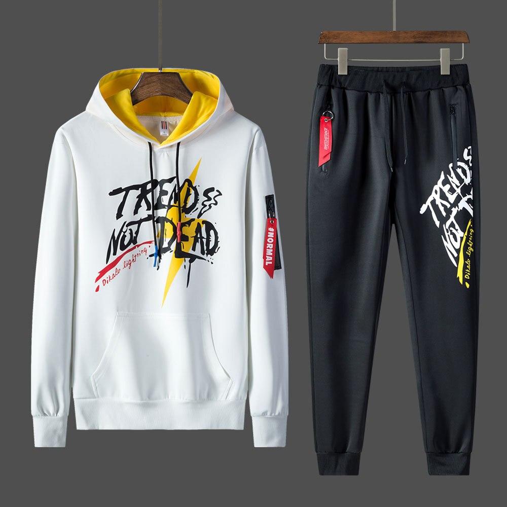 Casual Tracksuit Men Set Fashion 2 Piece Sweatshirt Jacket+Pants Set Clothes Streetwear Youth Hip Hop Sweat Hoodies Track Suit