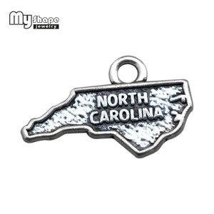 Mój kształt 30 sztuk/partia gorący sprzedawanie stopu mapa urok karolina północna słowo Charms dla tworzenia biżuterii nadające się Dit bransoletka Charms naszyjnik