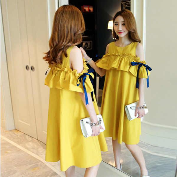 6a419f6faf5 Maternity Dresses Summer 2018 New Korean Pregnant Women Fashion Off Shoulder  Short Sleeve Ruffles A Line