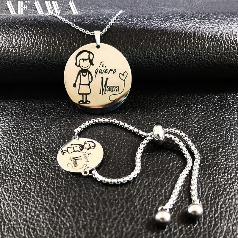 2018 Maman De Mode En Acier Inoxydable Bracelet Collier Ensembles Femmes Bijoux Argent Couleur Ensemble Bijoux juego de joyeria de acero 178635
