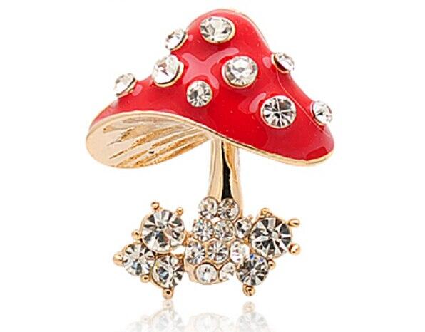 e1f94ba75 OneckOha Fashion Mushroom Brooch Pin Crystal Brooch Pin Garment Accessories  image