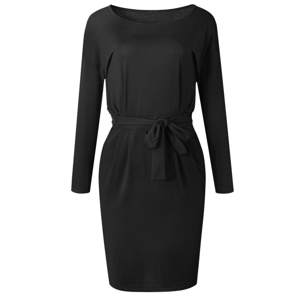 Initiative Feitong Long Sleeve Women Dress Lace Up Bodycon Belt Dresses 2019 Autumn Winter Casual O Neck Lace Bodycorn Dress Female With The Best Service Women's Clothing