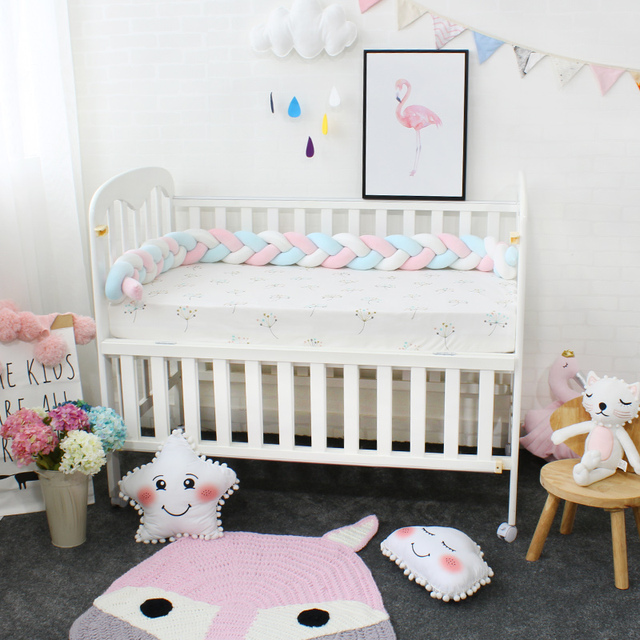 Baby Bumper Mixed Color Weaving Plush Cushion Baby Crib Protector For Newborns Baby Room Decor Crotch To the Cot Length 200cm