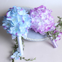 1Bunch Artificial Bridesmaid Wedding Decoration Foam Flower Rose Bridal Bouquet Flowers Satin Romantic Wedding T35