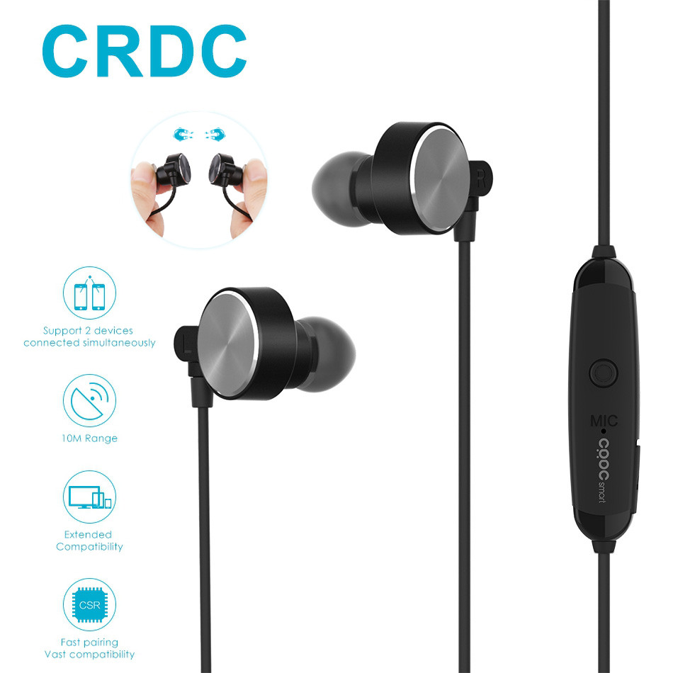 CRDC Bluetooth Earphone Magnetic Clasp Sport Wireless Headphones Bluetooth Running Headset With Mic Headphones for Phone Xiaomi powerful crdc sport bluetooth earphone 4 1 headphones magnetic clasp secure fit headset wireless stereo noise reduction with mic