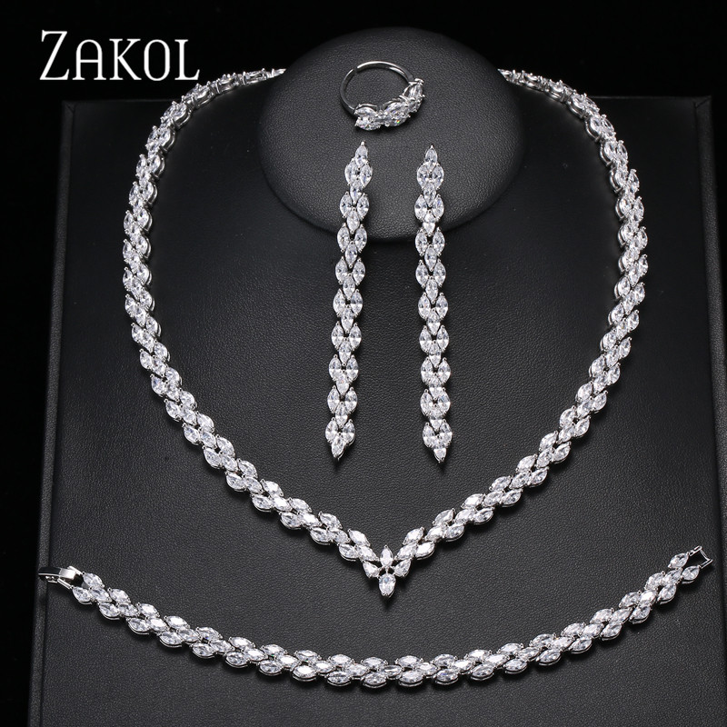 ZAKOL Trendy White Leaf Wedding Jewelry Set Marquise Cut Cubic Zircon Necklace Earrings Bracelet Full Set For Women FSSP253 pair of trendy rhinestone oval leaf earrings for women page 7