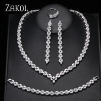 ZAKOL Trendy White Leaf Wedding Jewelry Set Marquise Cut Cubic Zircon Necklace Earrings Bracelet Full Set For Women FSSP253