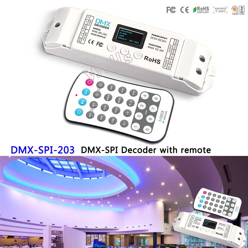 DMX-SPI-203;with remote led DMX to SPI(TTL) signal Controller Decoder 1024 Pixels for LPD6803/WS2811/WS2812B/LPD6803 LED Strip k 8000g sd card led pixel controller off line spi signal output controlling 8192 pixels can choose ic type by using the button