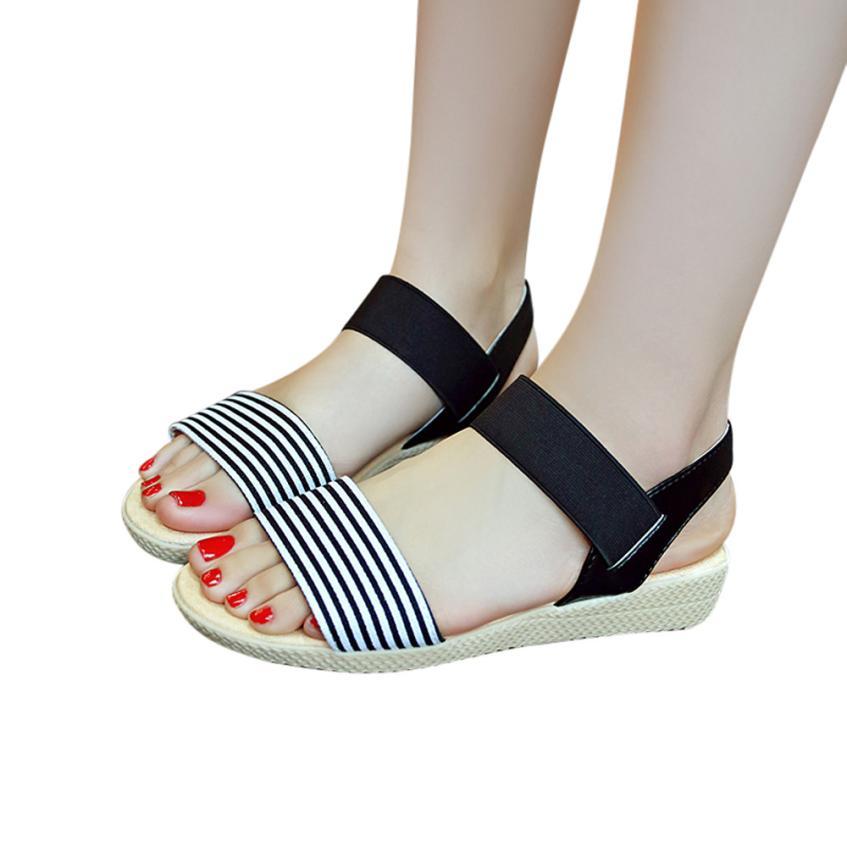 Fashion Women Flats Summer Hot Sale Sandals Female Stripe Flat Heel Anti Skidding Comfort Open Toe Beach Shoes Sandals Slippers 9