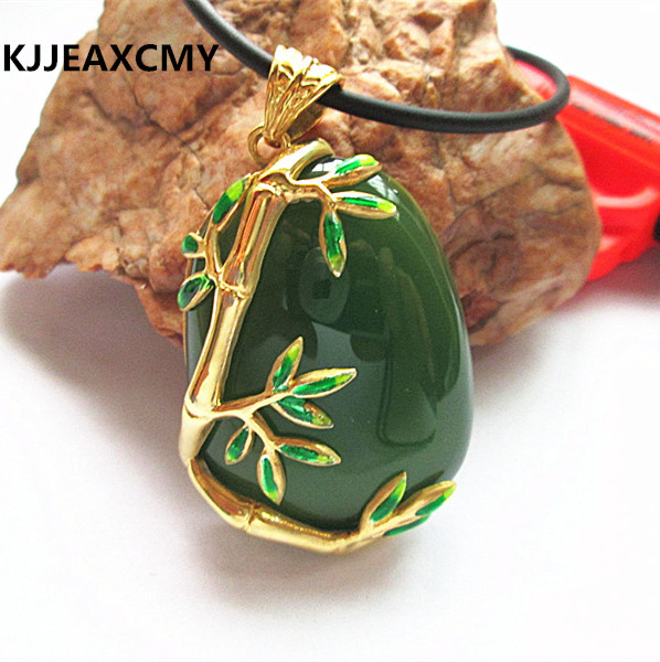 KJJEAXCMY 925 sterling silver jewelry inlaid bamboo female personality grren Gold-plated chalcedony PendantKJJEAXCMY 925 sterling silver jewelry inlaid bamboo female personality grren Gold-plated chalcedony Pendant