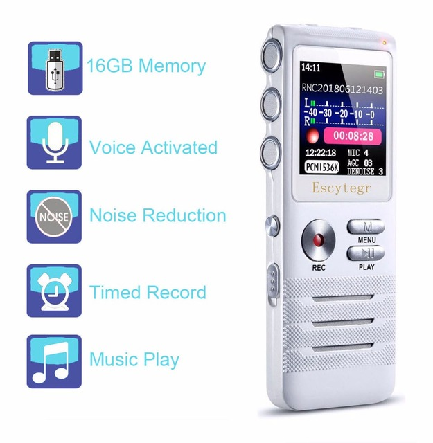 Escytegr 16 جيجابايت شاشة ملونة صوت المنشط مسجل 1536 كيلوبت في الثانية تسجيل صوتي رقمي مسجل MP3 الموسيقى لاعب الإملاء