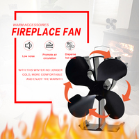 4 Blades Heat Powered Stove Fan Black/Silver/Gold + 19% Fuel Saving Stove Fan For Wood Burner/Fireplace Eco Friendly
