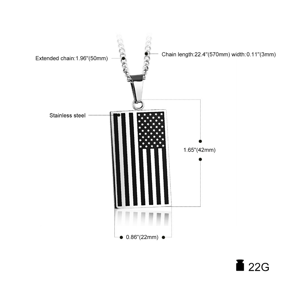 Unisex Stars And Stripes Pendant Necklace Gold Color Stainless Steel 1