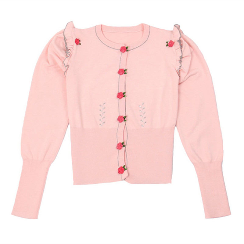 SRUILEE 2018 New Spring Brand Design Skinny Ruffles Coat Women Cardigans Knit Top Rose Buttons Outwear Runway Jaqueta Feminina ...