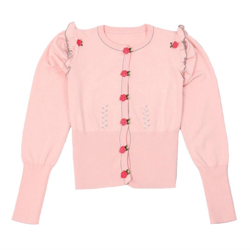 SRUILEE 2018 New Spring Brand Design Skinny Ruffles Coat Women Cardigans Knit Top Rose Buttons Outwear Runway Jaqueta Feminina