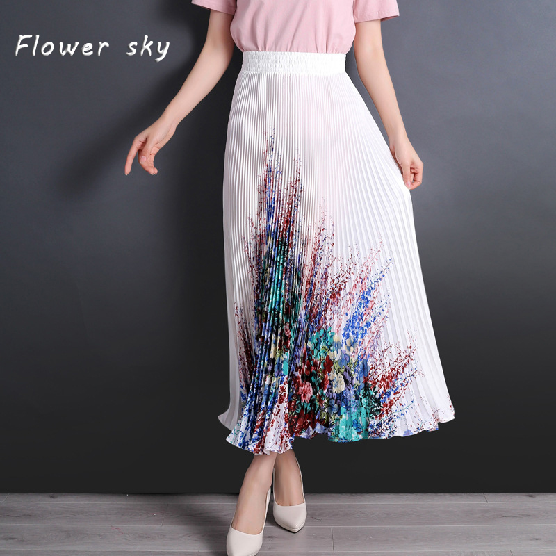 ef221c81c FLOWER SKY Skirt For Women Flower Print Elastic High Waist Maxi Long  Pleated Skirts Female 2018