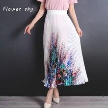 e54f78b340 Flor cielo falda para las mujeres flor imprimir elástico alta cintura Maxi  plisado Faldas Mujer 2018 primavera ropa de moda