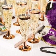 6 шт./компл. одноразовые Пластик красное вино Стекло Свадьба тостов шампанское флейты Стекло es для питевых чашек вечерние брак вина украшения
