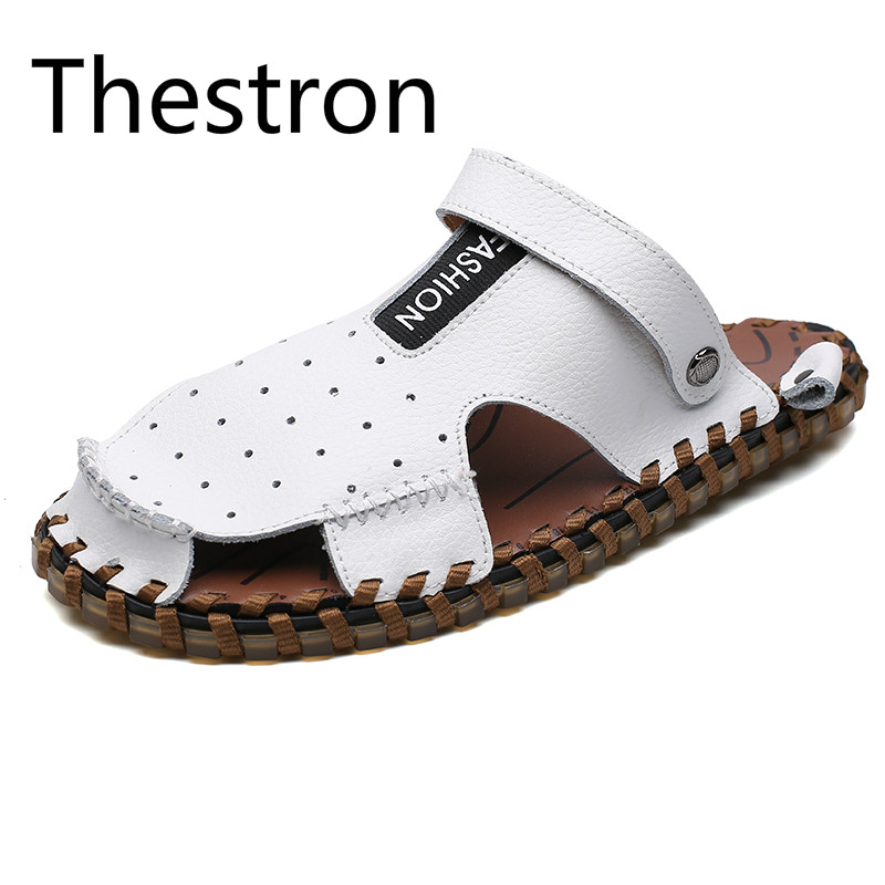 Thestron Men Sandals Leather Sandals Mens Genuine Leather 2018 Summer New White Black Brown Male Outdoor Breathable Hole Shoes